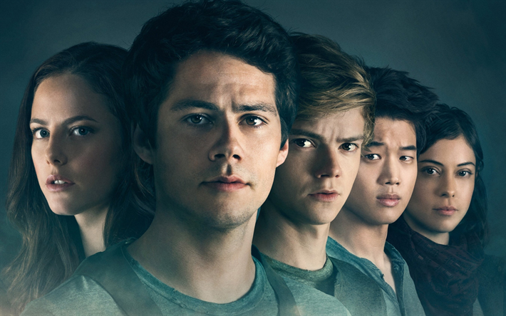 Download wallpapers Maze Runner, The Death Cure, 2018, new movie, poster, Thomas Sangster, Kaya Scodelario, Dylan OBrien, Lee Ki Hong, Will Poulter besthqwallpapers.com